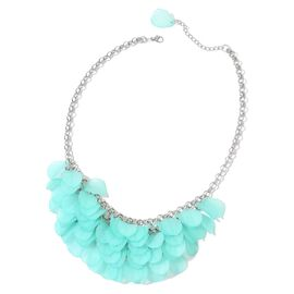 Turquoise Colour Flower Petals Necklace (Size 20 with 3 inch Extender) in Silver Tone