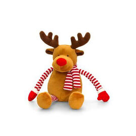 Keel Toys - Yellow and Chocolate Colour Reindeer with Red and White Colour Scarf (Size 22 Cm)