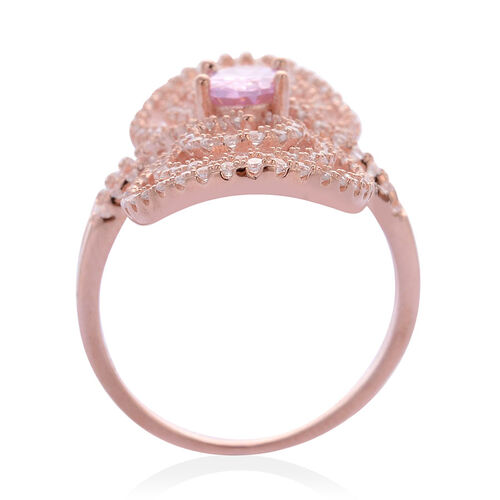 AAA Simulated Pink Sapphire and Simulated White Diamond Ring in Rose Gold Overlay Sterling Silver 2.000 Ct.