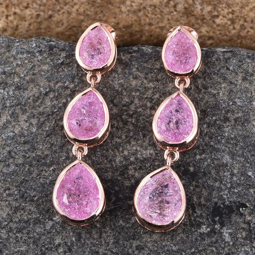 Hot Pink Crackled Quartz (Pear) Earrings (with Push Back) in Rose Gold Overlay Sterling Silver 9.500 Ct.