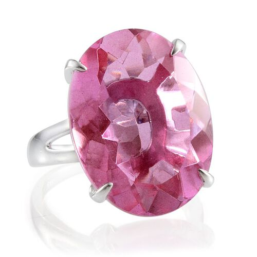 Kunzite Colour Quartz (Ovl) Solitaire Ring in Platinum Overlay Sterling Silver 28.000 Ct.
