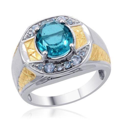 Capri Blue Quartz (Ovl 4.50 Ct), Blue Topaz Ring in 14K YG and Platinum Overlay Sterling Silver 5.310 Ct.