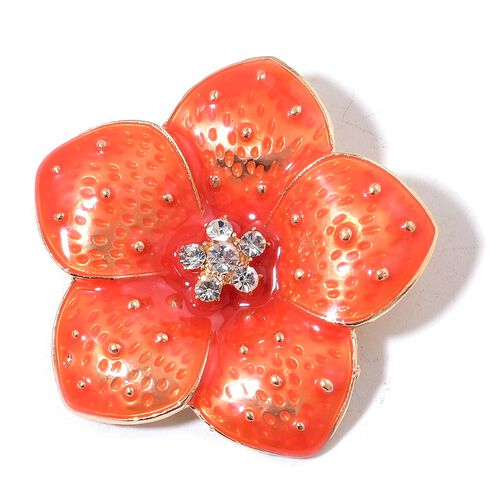 White Austrian Crystal Enameled Flower Brooch in Yellow Gold Tone