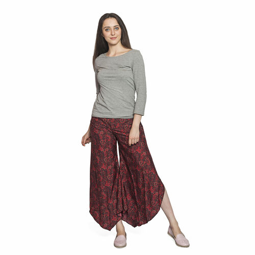 Red and Black Colour Ethnic Pattern Palazzo Trouser (Free Size)