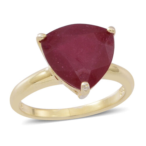 African Ruby (Trl) Solitaire Ring in 14K Gold Overlay Sterling Silver 8.000 Ct.