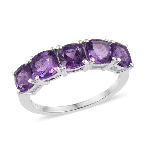 Amethyst (Cush) 5 Stone Ring in Sterling Silver 2.500 Ct.