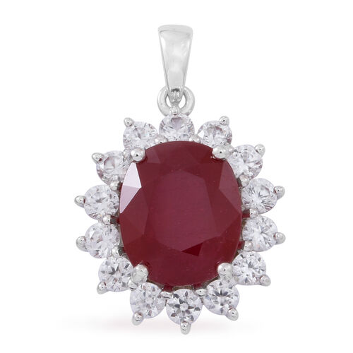 9K W Gold African Ruby (Ovl 6.50 Ct), White Zircon Pendant 8.000 Ct.