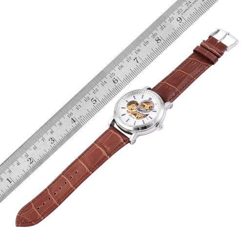 GENOA Automatic Skeleton White Dial Watch in Silver Tone with Chocolate Colour Strap