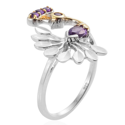 Amethyst (Pear) Peacock Ring in Platinum and Gold Overlay Sterling Silver