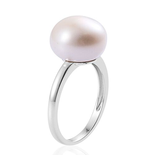 Fresh Water Pearl (Rnd) Solitaire Ring in Platinum Overlay Sterling Silver 11.000 Ct.