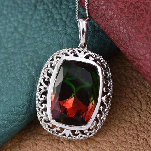 Bi-Color Tourmaline Quartz (Cush) Pendant With Chain in Platinum Overlay Sterling Silver 15.000 Ct.