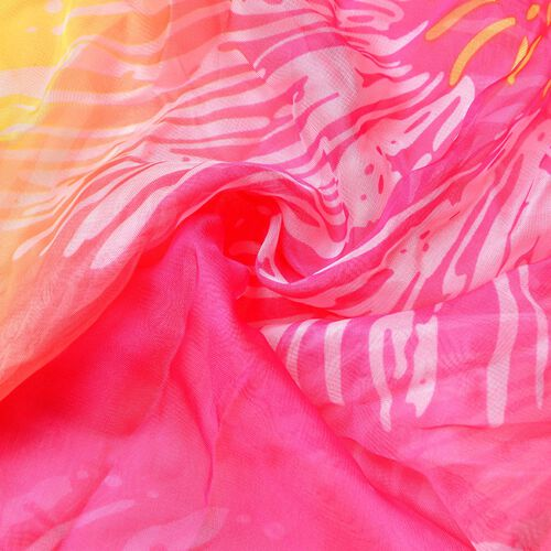 Rose Red, Yellow and Multi Colour Fireworks Pattern Scarf (Size 170 x70 Cm)