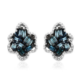 0.10 Ct Blue Diamond Stud Earrings in Platinum Plated Silver (with Push Back)