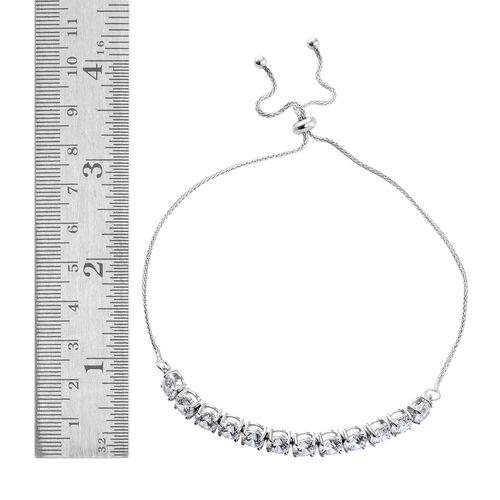 J Francis - 9K White Gold (Rnd) Adjustable Bracelet (Size 6.5 to 9.5) Made with SWAROVSKI ZIRCONIA