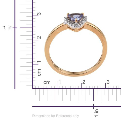 Tanzanite Trillion, White Topaz 0.50 Carat Ring in 14K Gold Overlay Sterling Silver.