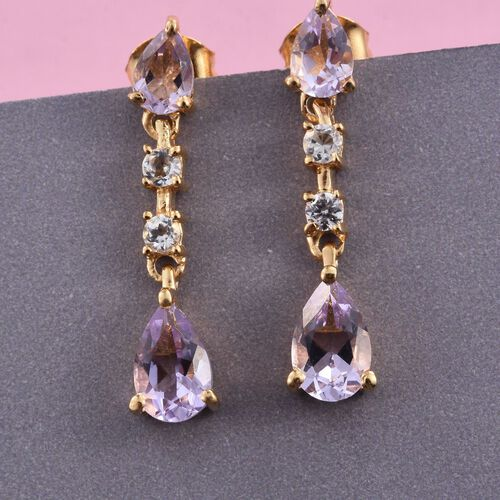 Rose De France Amethyst (Pear), White Topaz Dangling Earrings (with Push Back) in 14K Gold Overlay Sterling Silver 2.500 Ct.