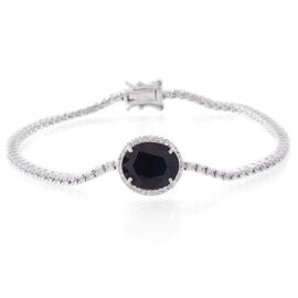 Rare Size Madagascar Blue Sapphire (Ovl 6.50 Ct), Natural White Cambodian Zircon Bracelet (Size 7.5) in Rhodium Plated Sterling Silver 9.400 Ct. Silver wt 7.50 Gms.