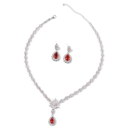 AAA Simulated Garnet and Diamond Necklace (Size 18 with 2 inch Extender) and Earrings