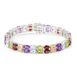 Mozambique Garnet (Ovl), Sky Blue Topaz, Hebei Peridot, Amethyst and Citrine Bracelet (Size 7.5) in Platinum Overlay Sterling Silver 28.750 Ct.