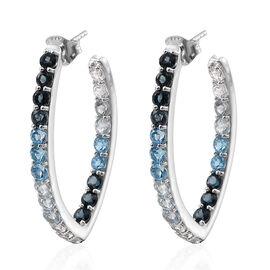 9.18 Ct Swiss Blue Topaz, White Topaz, London Blue Topaz and Sky Blue Topaz Hoop Earrings in Platinum Plated Silver 6.50 gms
