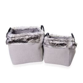 Set of 2 - 70% Cotton Light Grey Colour Multi Purpose Faux Fur Basket with Faux Leather Handles (Size Small 26X26X26 Cm and Large 31X31X31 Cm)