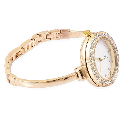 STRADA Japanese Movement Austrian Crystal Studded Watch in Yellow Gold Tone with Interchangeable Bezels