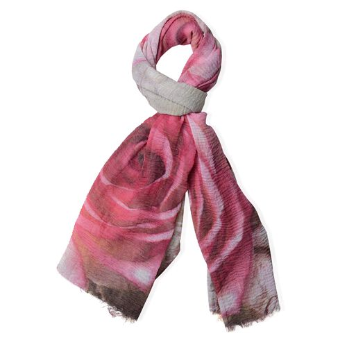 Pink, Yellow and Multi Colour Butterfly and Rose Flower Pattern Scarf (Size 180x90 Cm)