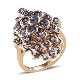 Raindrop Collection 9K Y Gold AA Tanzanite (Rnd) Ring 4.000 Ct.
