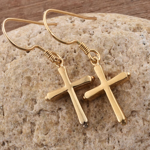 14K Gold Overlay Sterling Silver Cross Hook Earrings
