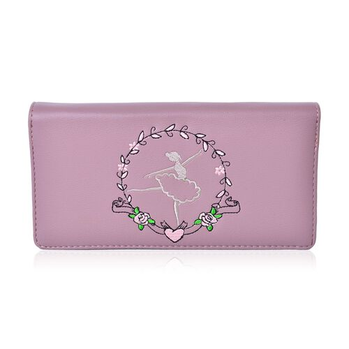 Dancing Ballerina Embroidered Purple Colour Ladies Wallet with Multiple Card Slots (Size 19X9X3 Cm)
