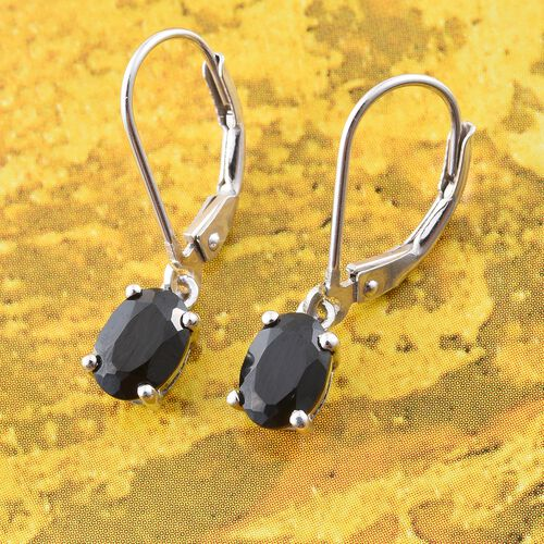 Boi Ploi Black Spinel (Ovl) Lever Back Earrings in Platinum Overlay Sterling Silver 1.750 Ct.