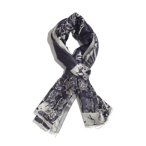 SILK MARK-100% Superfine Silk Purple and Silver Colour Jacquard Jamawar shawl (Size 180x70 Cm) (Weight 125-140 Grams)