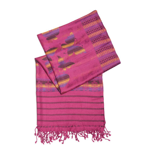 Multi Colour Butterfly Pattern Magenta Colour Jacquard Scarf with Fringes (Size 200x70 Cm)