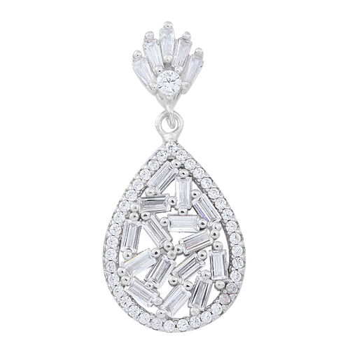ELANZA AAA Simulated White Diamond (Bgt) Pendant in Rhodium Plated Sterling Silver