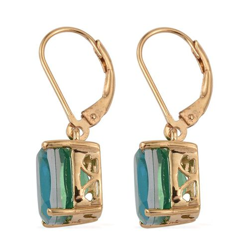 Peacock Quartz (Cush) Lever Back Earrings in 14K Gold Overlay Sterling Silver 3.250 Ct.