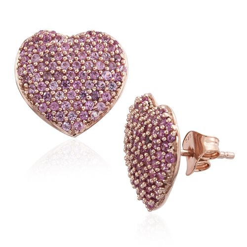 Red Carpet Collection Pink Sapphire (Rnd) Heart Stud Earrings (with Push Back) in Rose Gold Overlay Sterling Silver 2.880 Ct. Number of Gemstones 158pcs