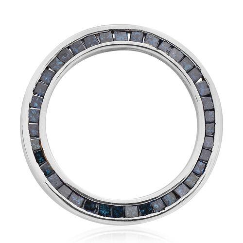 9K White Gold 1 Ct Blue Diamond Circle of Life Pendant SGL Certified