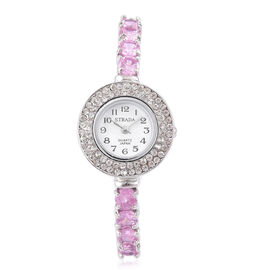 New Concept - STRADA Japanese Movement White Dial Bangle Watch in Silver Tone with White Austrian Crystal and Simulated Pink Colour Diamond. (Size 7.5)