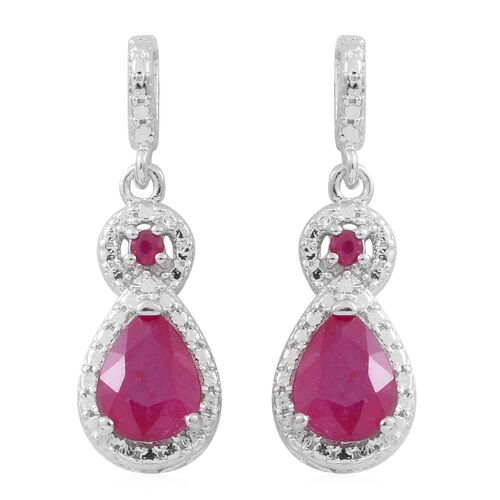 Limited Edition- African Ruby (Pear), Burmese Ruby Earrings (with Push Back) in Rhodium Plated Sterling Silver 3.000 Ct.