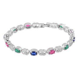 AAA Simulated Multi Colour Diamond Bracelet (Size 7.5) in Silver Tone