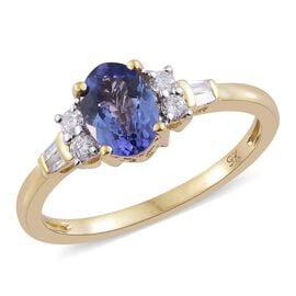 9K Yellow Gold 1.25 Ct AA Tanzanite Ring with Diamond