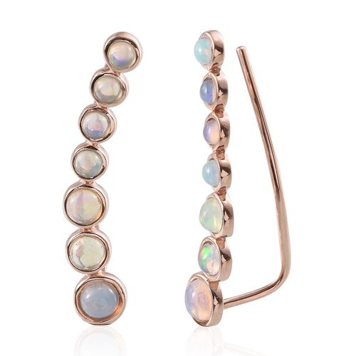 Ethiopian Welo Opal (Rnd) Climber Earrings in Rose Gold Overlay Sterling Silver 2.000 Ct.