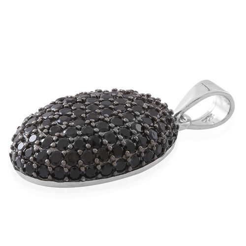 Boi Ploi Black Spinel (Rnd) Cluster Pendant in Rhodium Plated Sterling Silver 3.250 Ct.