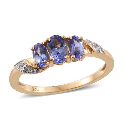 1.15 Ct Tanzanite, Natural Cambodian Zircon Silver Ring in Gold Overlay