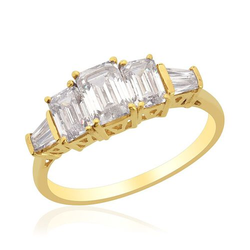 J Francis - 14K Gold Overlay Sterling Silver (Oct) Ring Made with SWAROVSKI ZIRCONIA  2.660 Ct.
