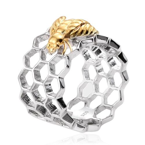 Platinum and Yellow Gold Overlay Sterling Silver Honey Comb with Bee Band Ring, Silver wt 5.00 Gms.