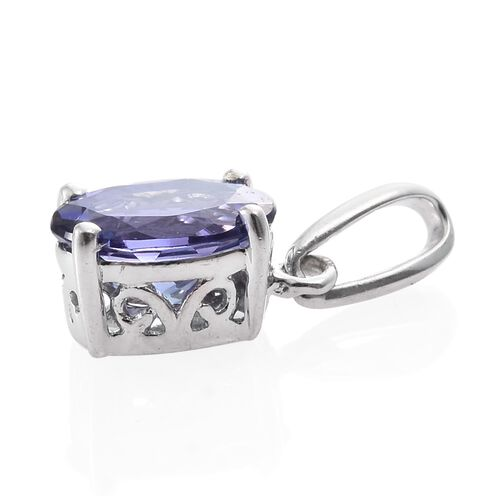 14K White Gold 1 Carat AA Tanzanite Oval Solitaire Pendant.