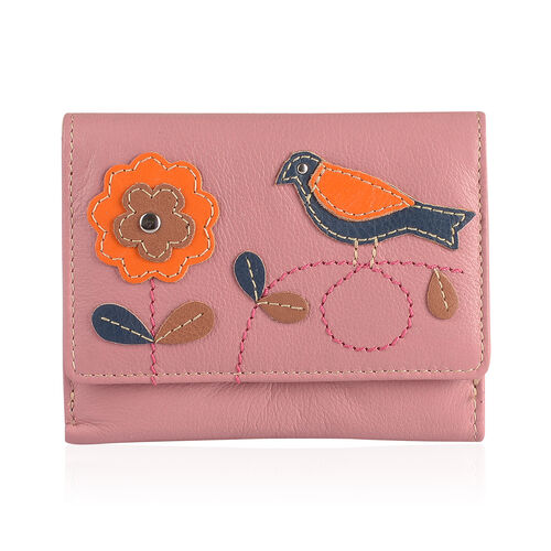 Designer Inspired -  100% Genuine Leather RFID Blocker Flower and Bird Pattern Pink Wallet with Multiple Card Slots (Size 12X10X3 Cm)