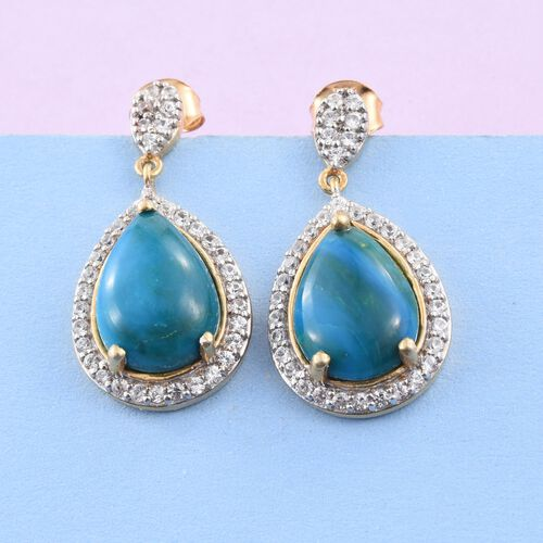 Natural Rare Opalina (Pear), Natural Cambodian Zircon Earrings (with Push Back) in 14K Gold Overlay Sterling Silver 9.500 Ct.
