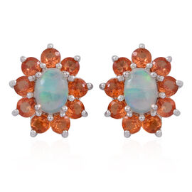 Ethiopian Welo Opal (Ovl), Chanthaburi Yellow Sapphire Floral Earrings (with Push Back) in Rhodium Plated Sterling Silver 2.750 Ct.